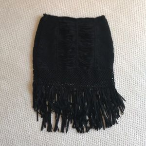 NWOT Bebe crochet and fringe black skirt